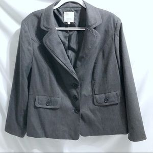 Sejour Gray Striped Fitted Blazer Jacket